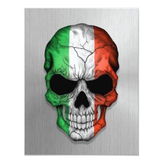 Drapeau de l'Italie sur un graphique en acier de Carton D'invitation 10,79 Cm X 13,97 Cm
