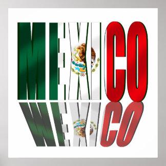 Drapeau de logo de réflexion du Mexique pour des M Affiche
