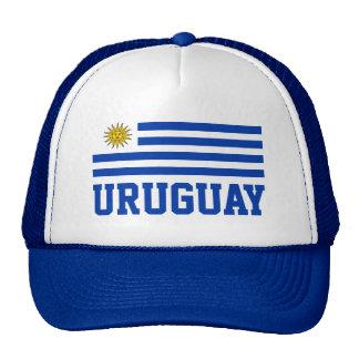 Drapeau de l'Uruguay avec le texte bleu Casquettes