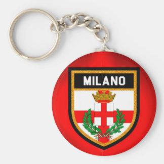 Drapeau de Milan Porte-clé Rond