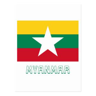Drapeau de Myanmar avec le nom Carte Postale