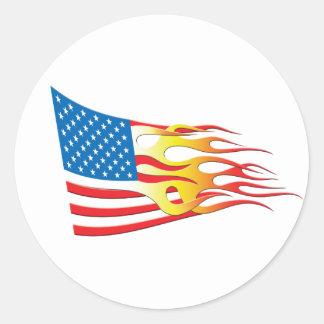 Drapeau de nation de hot rod sticker rond