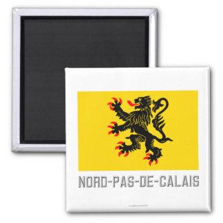 Drapeau de Nord-Pas-de-Calais avec le nom Aimant