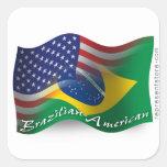 Drapeau de ondulation Brésilien-Américain Autocollant