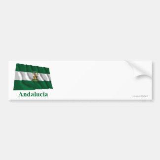 Drapeau de ondulation d Andalucía avec le nom Adhésif Pour Voiture