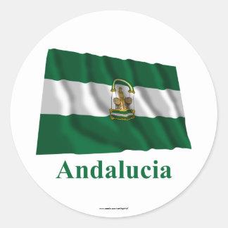 Drapeau de ondulation d'Andalucía avec le nom Sticker Rond