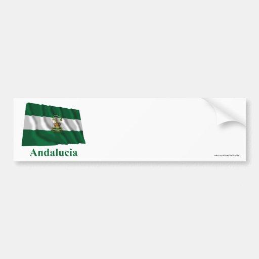 Drapeau de ondulation d'Andalucía avec le nom Adhésif Pour Voiture