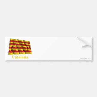 Drapeau de ondulation de Cataluña avec le nom Autocollant Pour Voiture