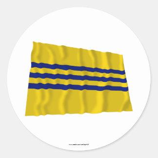 Drapeau de ondulation de Cochinchina (1946-1948) Sticker Rond