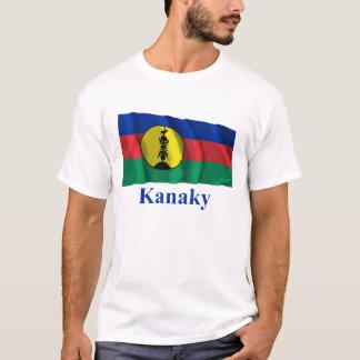 Drapeau de ondulation de Kanaky avec le nom T-shirt