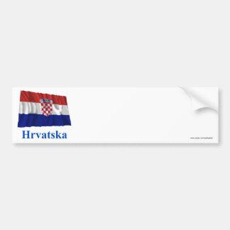 Drapeau de ondulation de la Croatie avec le nom da Autocollant De Voiture