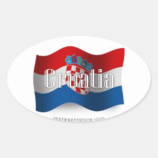 Drapeau de ondulation de la Croatie Sticker Ovale