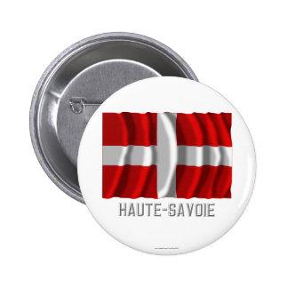 Drapeau de ondulation de la Haute-Savoie avec le n Badge Rond 5 Cm