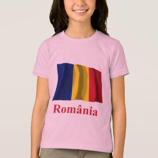 Drapeau de ondulation de la Roumanie avec le nom T-shirt