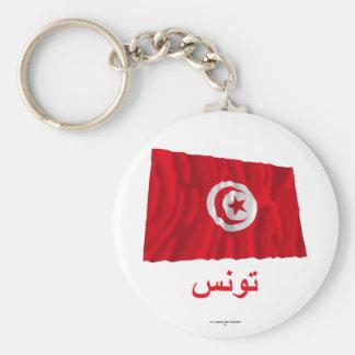Drapeau de ondulation de la Tunisie avec le nom en Porte-clé Rond