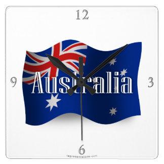 Drapeau de ondulation de l'Australie Horloge Carrée