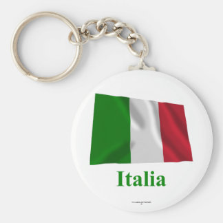 Drapeau de ondulation de l'Italie avec le nom en Porte-clé Rond