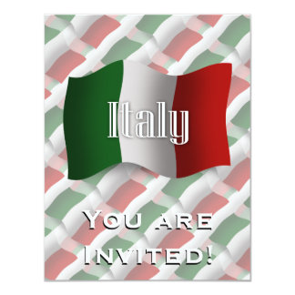 Drapeau de ondulation de l'Italie Carton D'invitation 10,79 Cm X 13,97 Cm