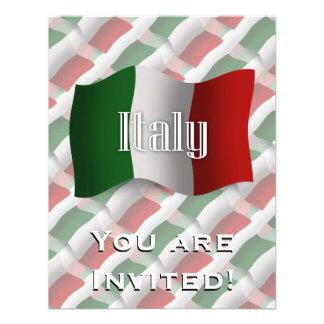 Drapeau de ondulation de l'Italie Faire-part
