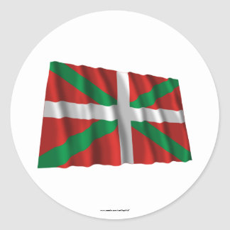 Drapeau de ondulation de País Vasco (Euskadi) Autocollants Ronds