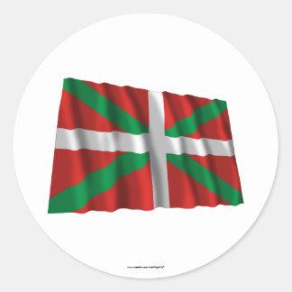 Drapeau de ondulation de País Vasco (Euskadi) Sticker Rond