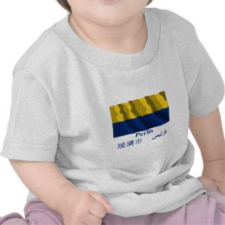 Drapeau de ondulation de Perlis avec le nom T-shirts