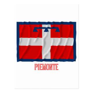 Drapeau de ondulation de Piemonte avec le nom Cartes Postales