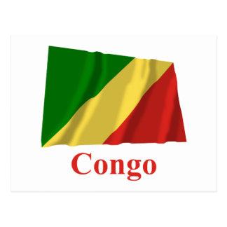 Drapeau de ondulation de République du Congo avec Carte Postale