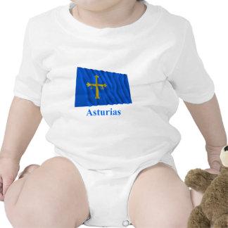 Drapeau de ondulation des Asturies avec le nom Body