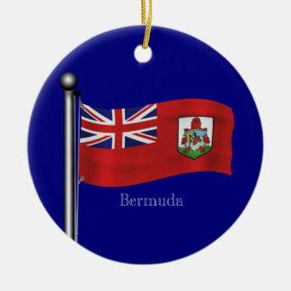 Drapeau de ondulation des Bermudes Ornement Rond En Céramique