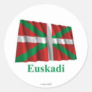 Drapeau de ondulation d'Euskadi (País Vasco) avec Sticker Rond