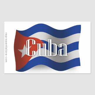 Drapeau de ondulation du Cuba Sticker Rectangulaire