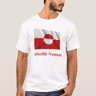 Drapeau de ondulation du Groenland avec le nom T-shirt