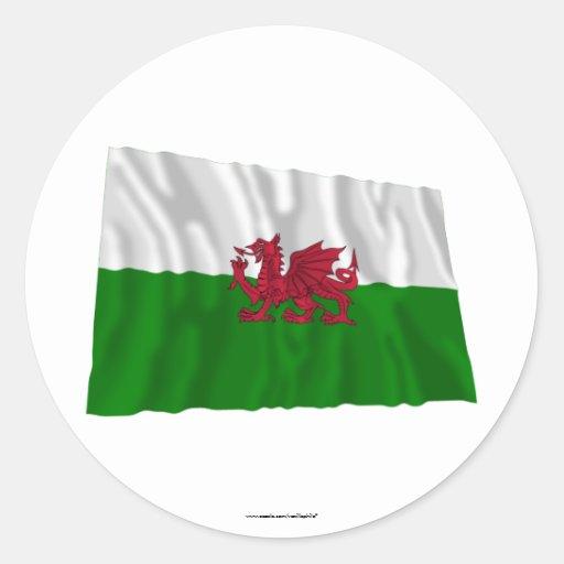 Drapeau de ondulation du Pays de Galles Autocollant Rond