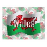 Drapeau de ondulation du Pays de Galles Cartes Postales
