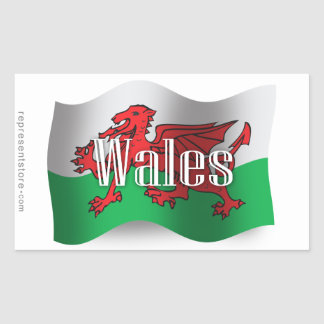 Drapeau de ondulation du Pays de Galles Sticker Rectangulaire