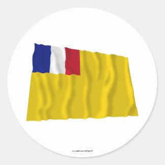 Drapeau de ondulation français d'Indochine Sticker Rond