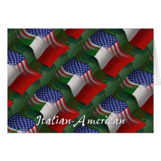 Drapeau de ondulation Italien-Américain Carte De Vœux