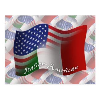 Drapeau de ondulation Italien-Américain Cartes Postales