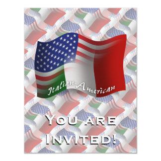 Drapeau de ondulation Italien-Américain Carton D'invitation 10,79 Cm X 13,97 Cm