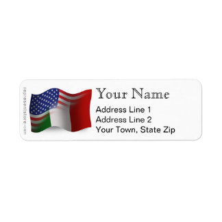 Drapeau de ondulation Italien-Américain Étiquette D'adresse Retour