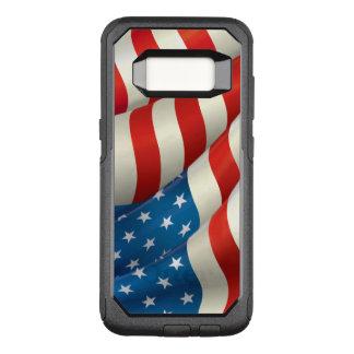 Drapeau de ondulation patriotique des États-Unis Coque Samsung Galaxy S8 Par OtterBox Commuter