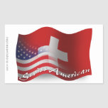Drapeau de ondulation Suisse-Américain Sticker En Rectangle