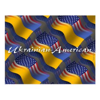 Drapeau de ondulation Ukrainien-Américain Carte Postale