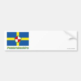 Drapeau de Pembrokeshire avec le nom Autocollant Pour Voiture
