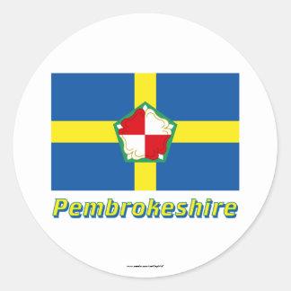Drapeau de Pembrokeshire avec le nom Sticker Rond