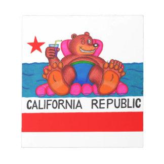 Drapeau de pieds d'ours de la Californie Blocs Notes