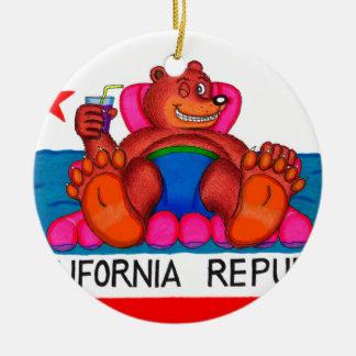 Drapeau de pieds d'ours de la Californie Ornement Rond En Céramique