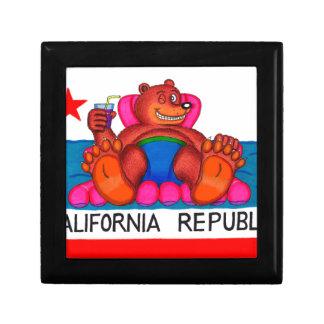 Drapeau de pieds d'ours de la Californie Petite Boîte À Bijoux Carrée