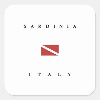 Drapeau de piqué de scaphandre de la Sardaigne Stickers Carrés